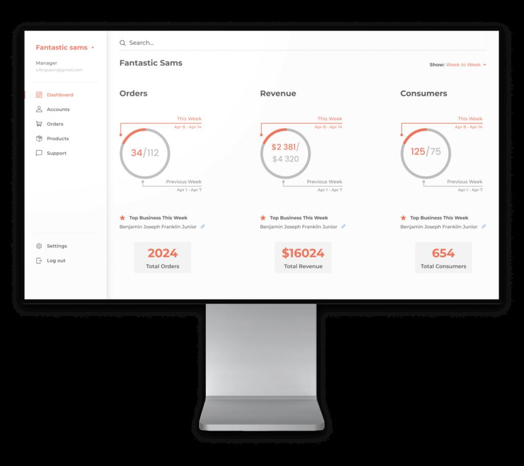 SalonHQ dashboard screen