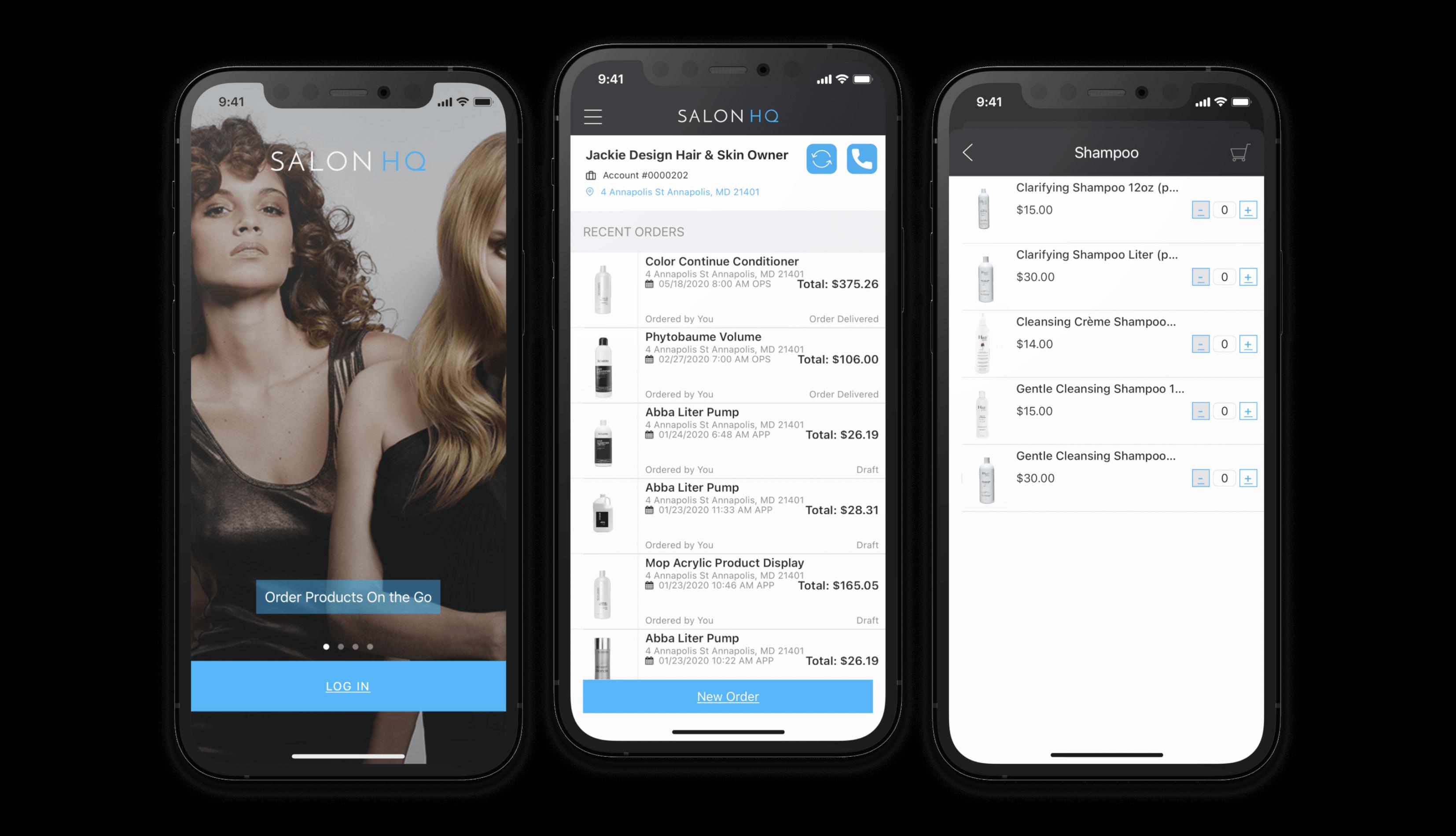 Three phones displaying SalonHQ app